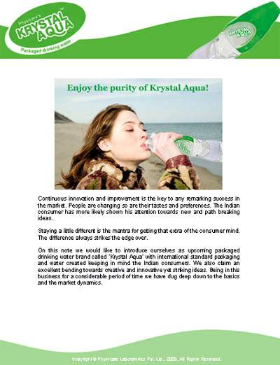 Brochure Design for Krystal Aqua - Packaged Drinking Water